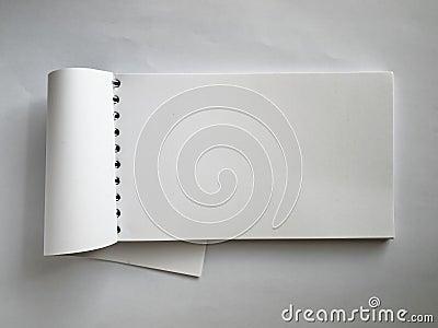 White Horizontal note book open
