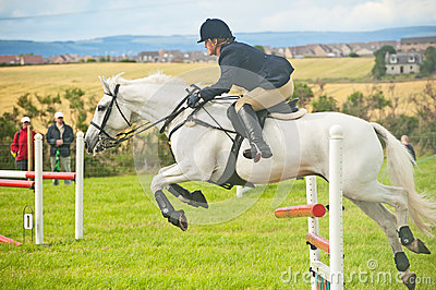 White horse jumping at Nairn Show Editorial Photo