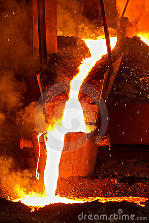 White hot molten metal