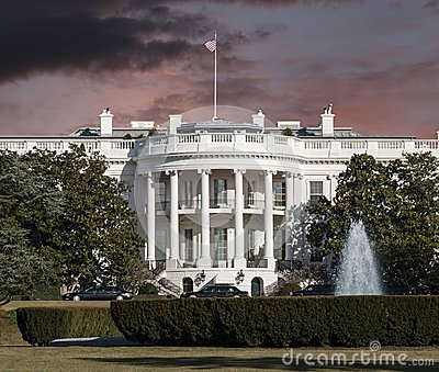 White House with Sunrise Sky