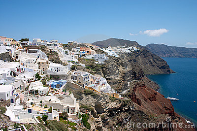 White houses on a cliff an Santorini island
