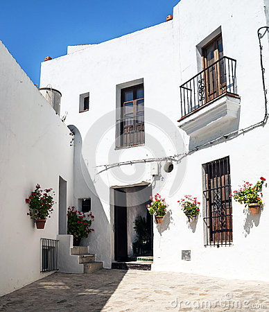 White houses with courtyards