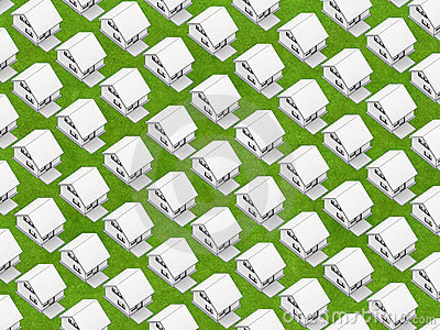 White houses on grass