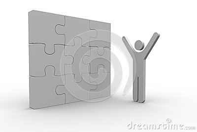 White human figure raising arms next to solved jigsaw puzzle