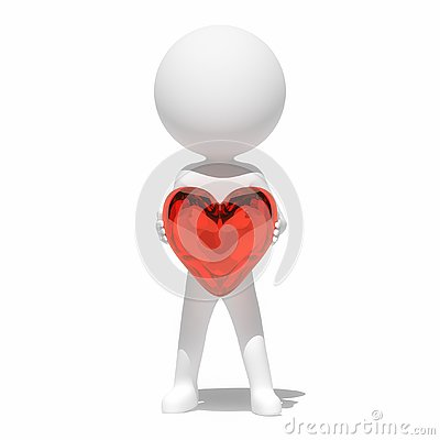 White human with heart, 3D artwork Stock Photo