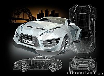 White hybrid sports car