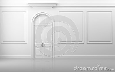 White interior with closed door and frames