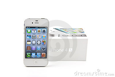 White iPhone 4S and its box Editorial Stock Photo