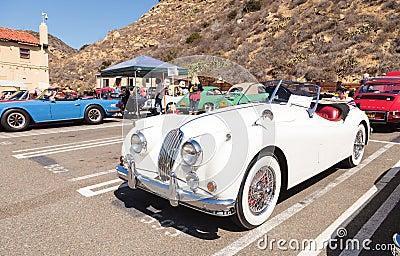 White 1956 Jaguar XK 140 MC Editorial Photography