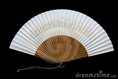 White Japanese fan (on black)