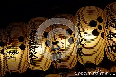 White Japanese lanterns with Kanji at night