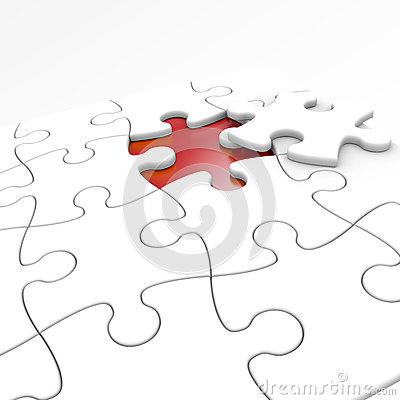 White jigsaw . puzzle isolated with clipping path