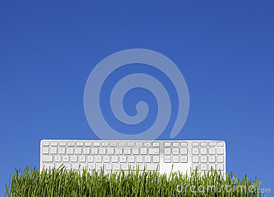 White keyboard on the grass