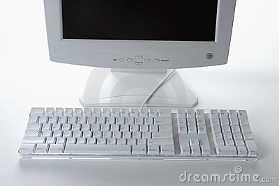 White Keyboard and Monitor