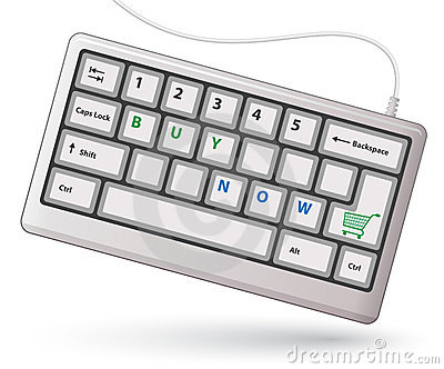 White keyboard with shopping cart sign