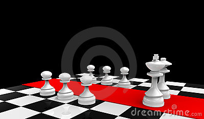 White king and queen with pawns on the chessboard