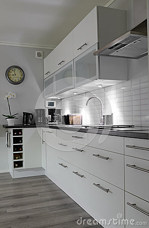White kitchen in vertical view