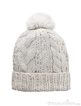 Free White Knitted Cap With Pompon, Isolated Royalty Free Stock Image - 44904776