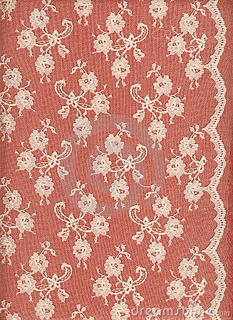 White lace with border on red background