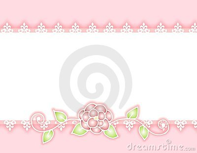 White Lace Pink Ribbon and Rose Border