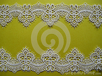 White lace on yellow