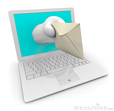 White Laptop Delivering Your e-Mail