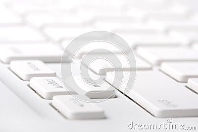 White laptop keyboard closeup