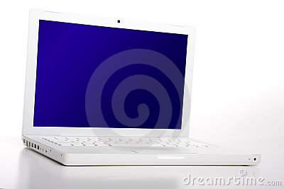 White laptop nobody with blank blue screen.