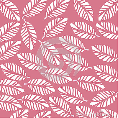 White leaves on a pink background