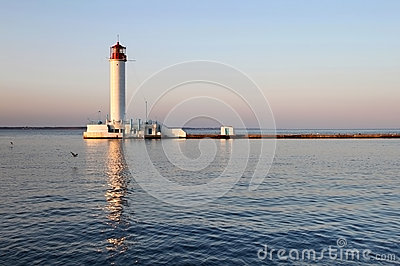 White lighthouse in the evening