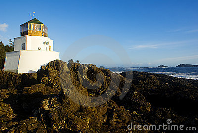 White lighthouse on shore