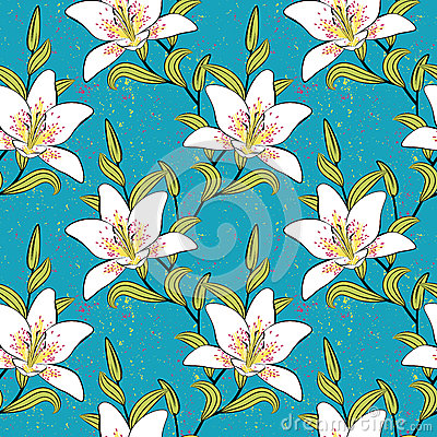 White lilies, romantic, summer pattern