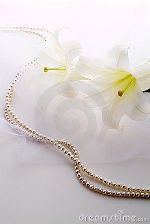 White lily and pearls