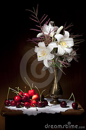 White Lily with Red Cherries Still life