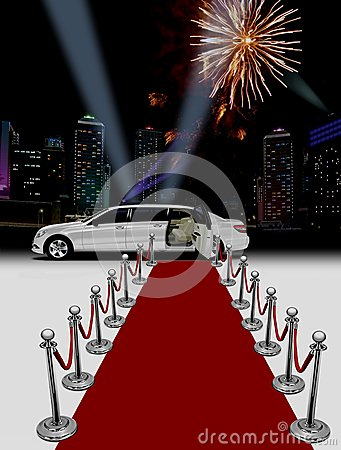 Free White Limo And Red Carpet Royalty Free Stock Photos - 26801348