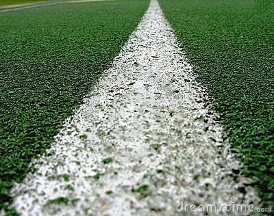 White line on green.