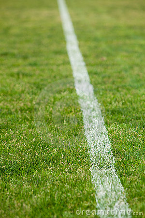 White line on a soccer field