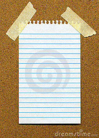 White lined blank paper on a noticeboar