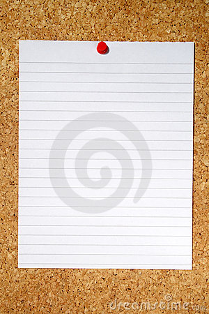 White lined paper.