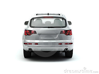 White luxory SUV back view