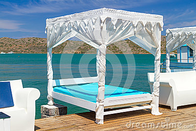 White luxury beds at Mirabello Bay on Crete