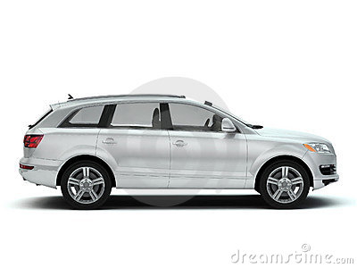 White luxury SUV side view