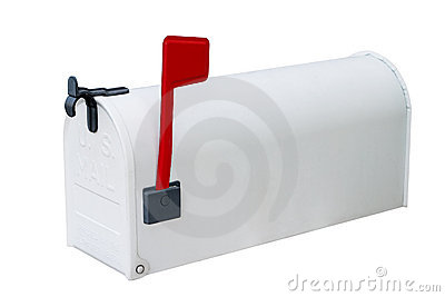 White mailbox w/closed door