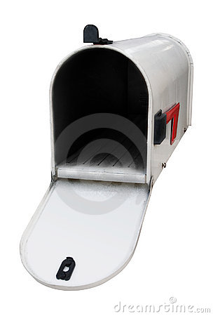 White mailbox w/open door