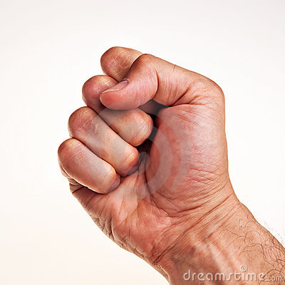 White male right hand, fist.