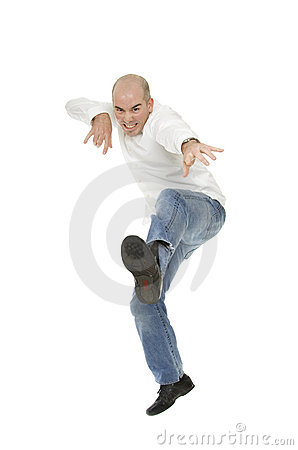 White Man Jumping in Mid Air Kick