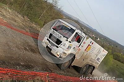 White MAN Rally Truck Editorial Photo