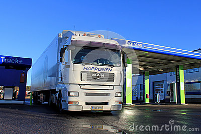 White Man 18.480 Truck and Trailer at a Filling Station Editorial Photography