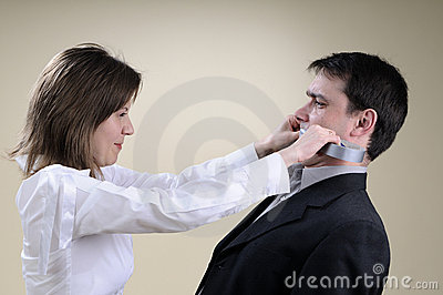 White manager gluing his partner mouth