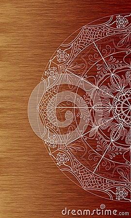 White mandala doodle art brown wood texture background Stock Photo